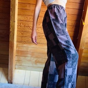 Vintage Pants - Vintage Printed High Waisted Trousers